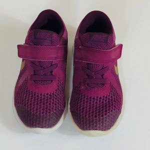 Nike Toddler Revolution Purple and Gold